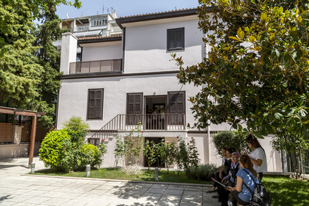 Thessaloniki, Greece - July 22, 2018: Exterior view of Ataturk Residence where Mustafa Kemal Ataturk, founder of Turkish Republic was born. His home is now a museum in Thessaloniki.
