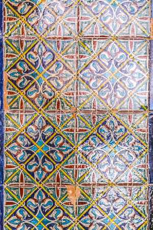 Armenian tiles with beautiful decorations in the Armenin Convent in Jerusalem, Israel