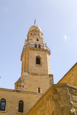 Exterior of the Church of Dormition Abbey on Mount Zion in Jerusalem, Israel.