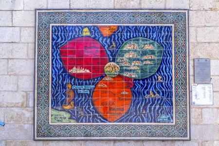 Jerusalem, Israel - June 16, 2018: Reproduction of an ancient map of Jerusalem on tiles, found on a wall of Jerusalem Municipality Building, Israel