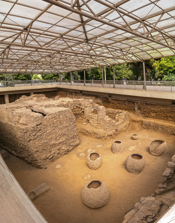 Third Ephorate of Athens Antiquities during the reign of emperor Hadrian.Excavated archaeological site of a roman bath house in Athens near the Ilissos river.