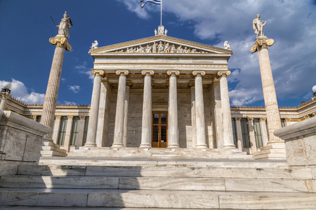 Exterior view of the Academy of Athens in Athens, the Greek capital.