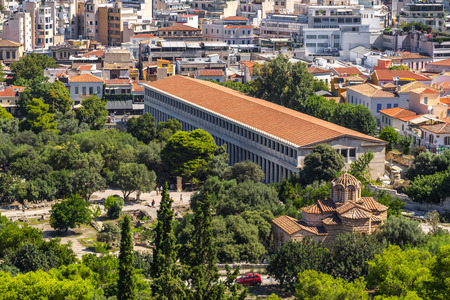 Athens, Greece - July 20, 2018: Aerial view of the Stoa of Attolos in Athens. Athens has significant remains of the ancient Greek civilization.
