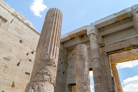 The reconstructed ancient ruins of Parthenon and Erechtheion at the Acropolis in Athens, the Greek capital. Acropolis is a significant historic landmark.