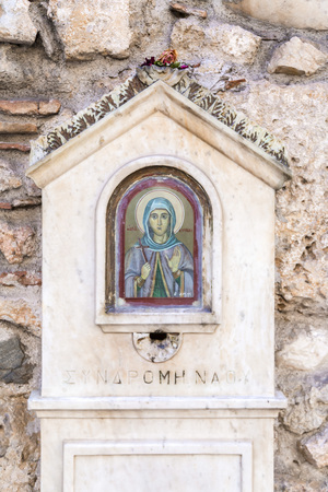 Athens, Greece - July 20, 2018: Old icon portrait of Siant Kyriaki or Agia Kyriake in Athens, Greece. 에디토리얼