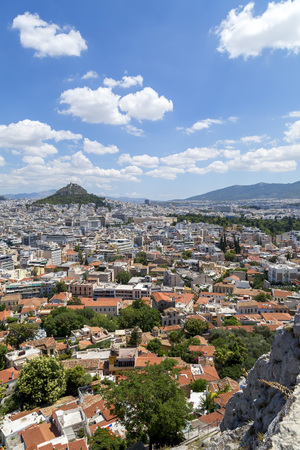 Athens, Greece - July 20, 2018: Aerial view of Athens, the capital of Greece. Athens has significant remains of the ancient Greek civilization.