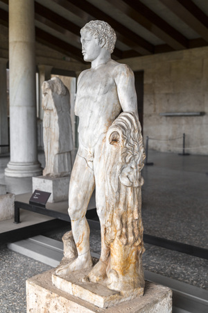 Athens, Greece - July 20, 2018: Ancient Greek sculpture Stoa of Attolos in Athens. Athens has significant remains of the ancient Greek civilization.