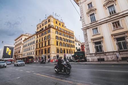 Rome, Italy - April 2, 2019: Cityscape and generic architecture from Rome, the Italian capital. Enchanting old buildings and historical streets in Rome. Editorial
