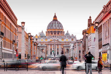 Vatican City, Rome, Italy - April 2, 2019: Exterior view of St. Peter Cathedral in Vatican City, the heart of Catholic Christianity. Redakční