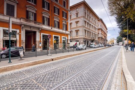 Rome, Italy - April 3, 2019: Cityscape and generic architecture from Rome, the Italian capital. Enchanting old buildings and historical streets in Rome.