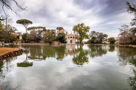 Temple of Aesculapios or Tempio Esculapio at Villa Borghese Gardens in Rome, Italy. Archivio Fotografico