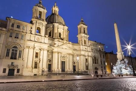 Cityscape and generic architecture from Rome, the Italian capital. Navona Square at night. Archivio Fotografico