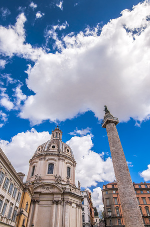 The historical open-air museum Roman Forum and the Trajan's Market in Rome, Italy.