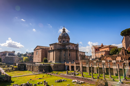 The historical open-air museum Roman Forum, view from Capitolium Hill in Rome, Italy. Reklamní fotografie