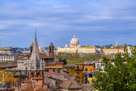 Aerial cityscape of Rome from Pinco Terrace in Pincian Hill, Villa Borghese.