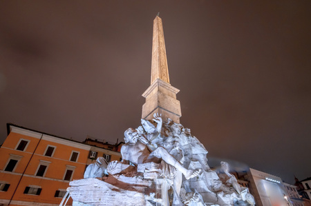 Cityscape and generic architecture from Rome, the Italian capital. Navona Square at night. Stok Fotoğraf