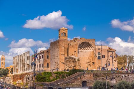 Rome, Italy - April 5, 2019: The historical open-air museum Roman Forum, the Temple of Venus Rome. Redactioneel