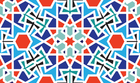 Abstract seamless pattern design with oriental moorish style geometric motif, repeat background Ilustração