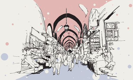 Drawing sketch illustration of the Egyptian Bazaar with little stores and people shopping, Istanbul Vektoros illusztráció