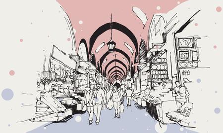 Zeichnungsskizze des ägyptischen Basars mit kleinen Geschäften und Einkaufsmöglichkeiten, Istanbul Vektorgrafik