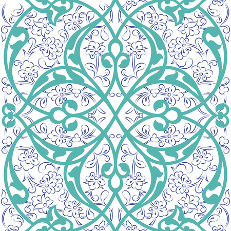 Iznik tile seamless pattern design, classical Ottoman Turkish style floral decoration, repeating background with stylized flowers and twirl rumi lines