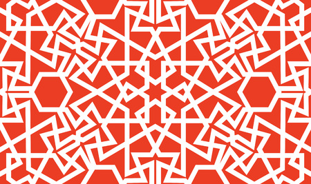 Abstract seamless pattern design with oriental moorish style geometric motif, repeat background Çizim
