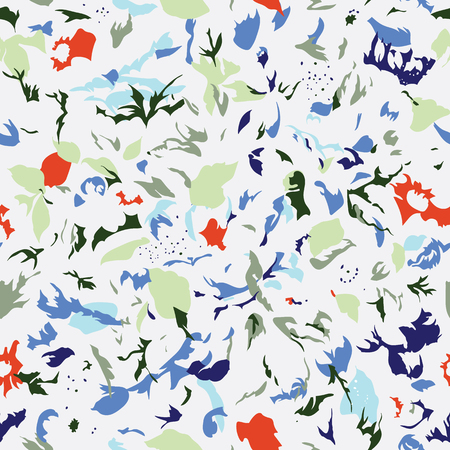 Seamless pattern design with abstract colorful shapes, modern repeat background for web and print, square composition scalable to all size.
