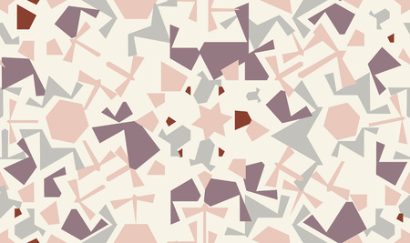 Abstract seamless pattern design with random geometric shapes, repeat background Ilustração
