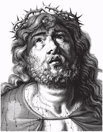 Engraving of Jesus Christ with crown of thorns, vector illustration Standard-Bild - 125901238