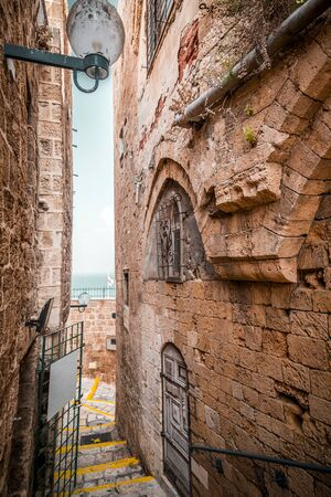 The old city of Jaffa, an old Arab village near the modern city of Tel Aviv, Israel. Jaffa is a popular touristic spot with historic buildings, port and beach.