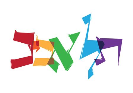 Modern abstract Hebrew typography design with the word Tel Aviv, stylized angular handlettering with vibrant colors Vektoros illusztráció
