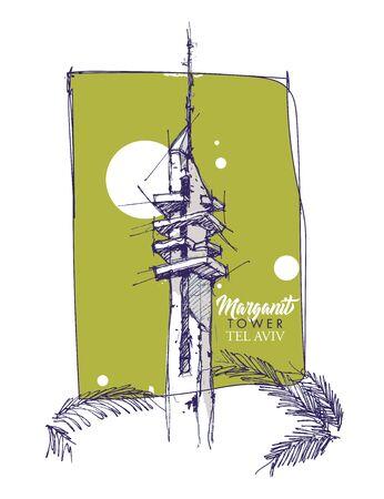 Handdrawn sketchy illustration of the Marganit Tower, a landmark in Tel Aviv, Israel.
