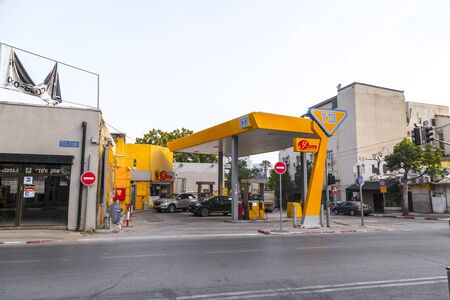 Yafo, Israel - June 12, 2019: Branch of Paz gas station in Tel Aviv. Paz is an Israeli fuel provider and the country's largest gas station chain.