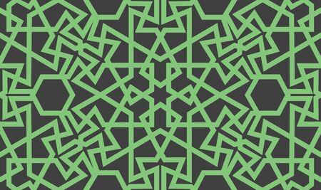 Abstract seamless pattern design with oriental moorish style geometric motif, repeat background Illusztráció