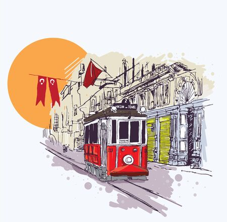 Digital vector illustration of the nostalgic red tram in Istiklal Avenue, Istanbul, Turkey. Artistic sketchy style cityscape scene. Иллюстрация