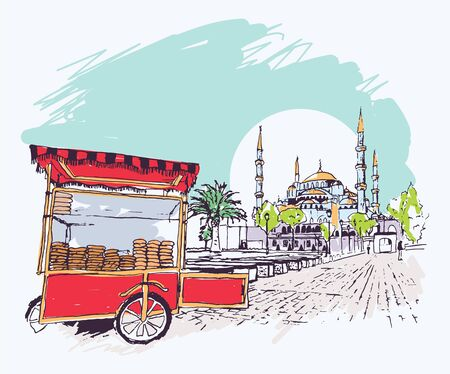 Digital vector illustration of the Blue Mosque and simit vendor cart in Istanbul, Turkey. Artistic sketchy style cityscape scene.