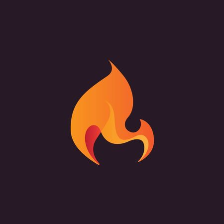 Abstract flame design element, stylized fire icon, three-dimensional modern vector