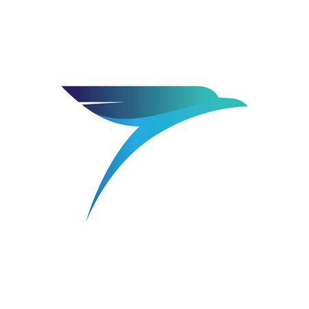 Abstract bird design element, stylized swallow or falcon head icon, three-dimensional modern vector