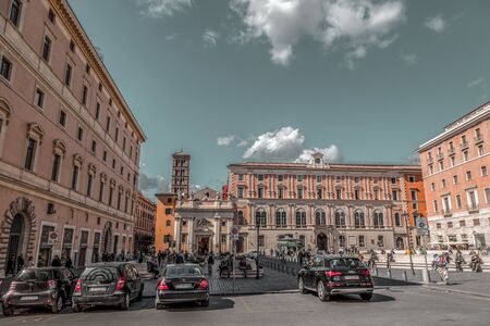 Rome, Italy - April 5, 2019: Cityscape and generic architecture from Rome, the Italian capital. Enchanting old buildings and historical streets in Rome.