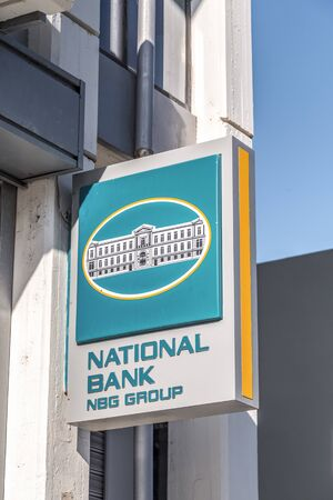 Alexandroupoli, Greece - February 19, 2019: Signpost of Greek National Bank in Alexandroupolis, Greece.