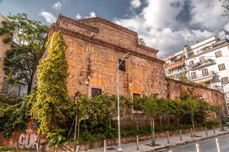 Thessaloniki, Greece- July 24, 2018: Remains of Turkish Bey Hamam in Thessaloniki, the second largest city of Greece located on the northern coast of the Aegean Sea.