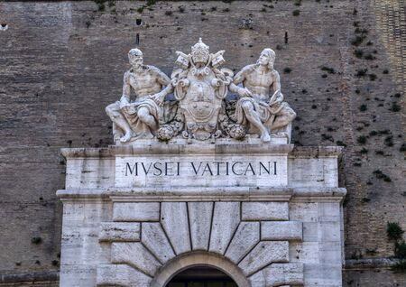 Vatican City, Rome, Italy - April 6, 2019: Exterior view of the Vatican Museum in Vatican City, the heart of Catholic Christianity.