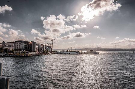 View from Karakoy district of Beyoglu, Istanbul. Karakoy is located on the European coastline of the Bosphorus.