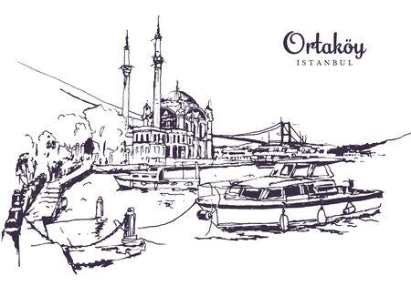 Drawing sketch illustration of Buyuk Mecidiye Mosque or Ortakoy Mosque along the Bosphorus, Istanbul