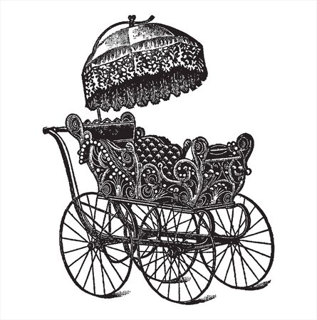 Vintage engraving style vector illustration of and old fashioned pram