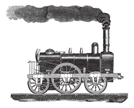 Vintage engraving style vector illustration of a high-speed locomotive