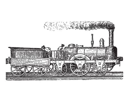 Vintage engraving style vector illustration of a high-speed locomotive Фото со стока - 131388290