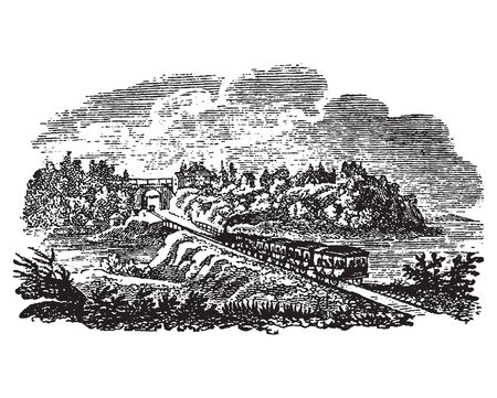 Vintage engraving style vector illustration of a scene people travelling on an old-fashioned wagon