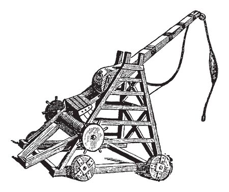Vintage engraving style vector illustration of a wooden catapult Ilustrace