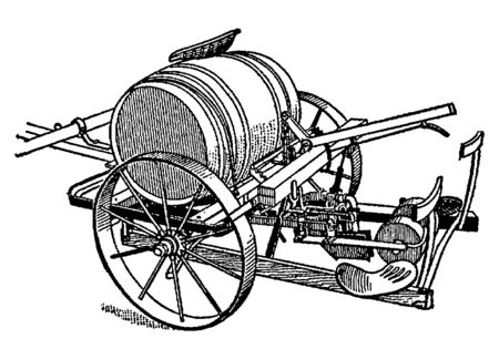 Vintage engraving style vector illustration of a butter churn device with pedals Çizim